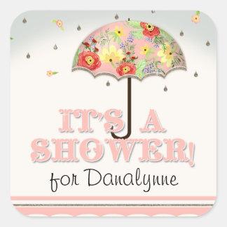 Mod Modern Floral Ranunculus Umbrella Baby Shower Square Sticker