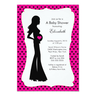 Mod Mom Baby Girl Baby Shower Hot Pink Custom Announcements