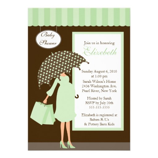 mod mom baby shoppe baby shower mint green 5x7 paper invitation card