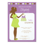 "Mod Mom to be Baby Girl Shower Invitation 5"" X 7"" Invitation Card"