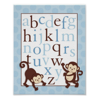 Mod Monkey Alphabet Nursery Wall Art Poster