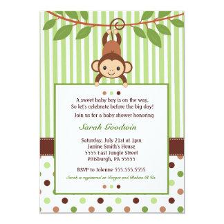 "Mod Monkey Baby Shower invitation 5"" X 7"" Invitation Card"