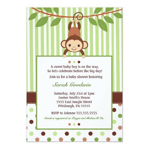 mod monkey baby shower invitation zazzle