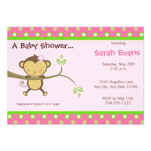 mod monkey baby shower invitations pink 5 x 7 invitation card