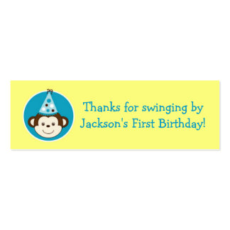 Mod Monkey Birthday Favor Gift Tags Double-Sided Mini Business Cards (Pack Of 20)
