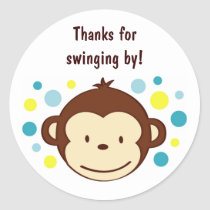 Mod Monkey Birthday Favor Stickers