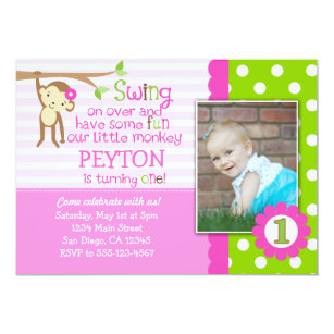 Monkey first birthday invitations announcements zazzle mod monkey birthday invitation for girls pink filmwisefo Image collections