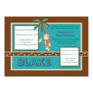 "MOD Monkey Birthday Invite - Personalize 5"" X 7"" Invitation Card"