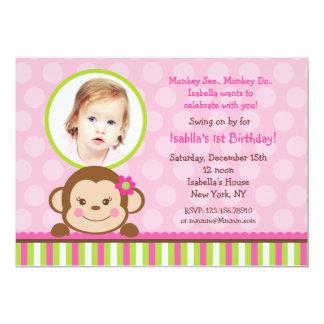 Mod Monkey Birthday Party Invitation