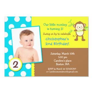 "Mod Monkey Birthday Party Invitation 5"" X 7"" Invitation Card"