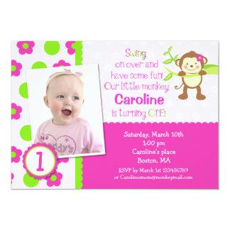 "Mod Monkey Birthday Party Invitations 5"" X 7"" Invitation Card"