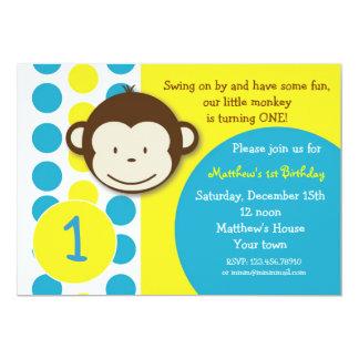 "Mod Monkey Birthday Party Invitations Boy 5"" X 7"" Invitation Card"