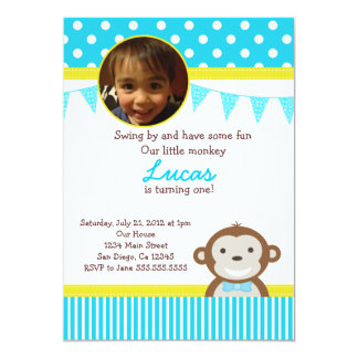 Mod Monkey Birthday Party Invitations for Boy