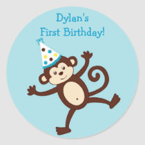Mod Monkey Birthday Stickers Envelope Seals