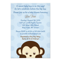 Mod Monkey Blue Custom Baby Shower Invitations