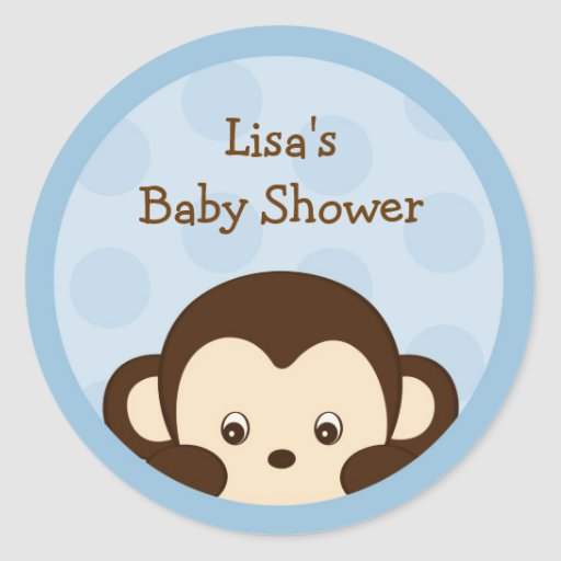 Mod Monkey Blue Envelope Seals Stickers