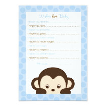 Mod Monkey Blue Wishes for Baby Advice Card