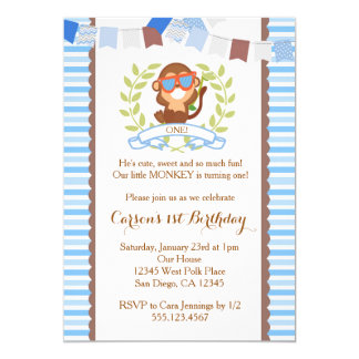 Mod Monkey Boy Birthday Invitation