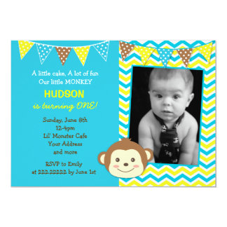 "Mod Monkey Boy Photo Birthday Invitations 5"" X 7"" Invitation Card"