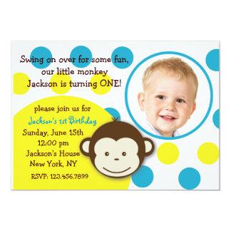 "Mod Monkey Boy Photo Birthday Party Invitations 5"" X 7"" Invitation Card"