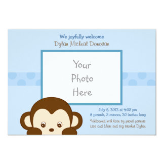 Mod Monkey Boys Custom Photo Birth Announcement