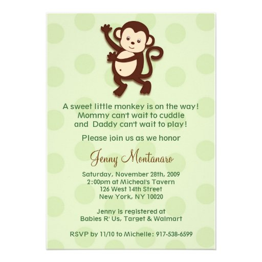 mod monkey custom baby shower invitations zazzle