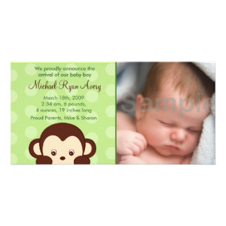 Mod Monkey Custom Photo Birth Announcements