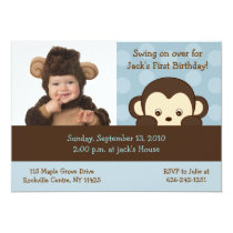 Mod Monkey Dot Photo Birthday Invitations