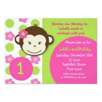 Girl monkey birthday invitations announcements zazzle mod monkey girl birthday party invitations filmwisefo