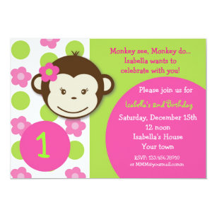 Girl monkey birthday invitations announcements zazzle mod monkey girl birthday party invitations filmwisefo Choice Image