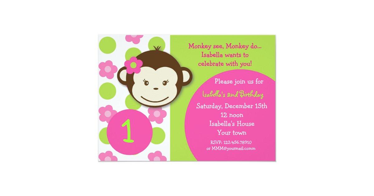 Girl Monkey Birthday Invitations & Announcements | Zazzle