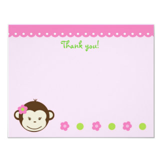 Mod Monkey Girl Blank Thank You Note Cards