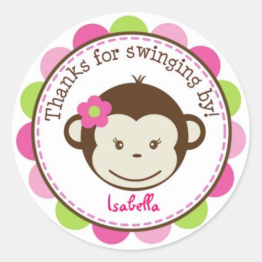 Mod Monkey girl Favor stickers Labels Seals