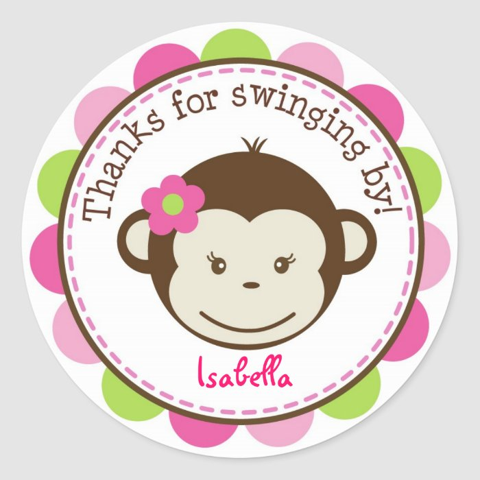 Mod Monkey girl Favor stickers Labels Seals