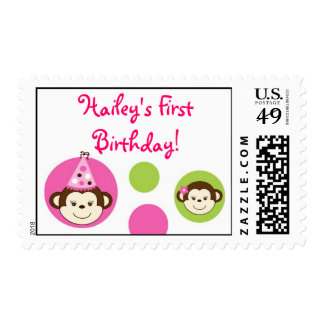 Mod Monkey Girl Monkey Custom Postage Stamps