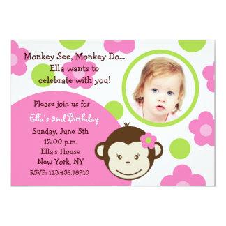 "Mod Monkey Girl Photo Invitations 5"" X 7"" Invitation Card"