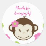Mod Monkey girls Round Favor Stickers Seals