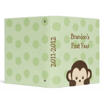 Mod Monkey Green Baby Photo Album Scrapbook 3 Ring Binder