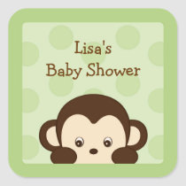 Mod Monkey Green Envelope Seals Stickers