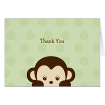 Mod Monkey Green Thank You Note Cards