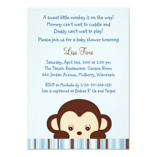 Mod Monkey Jungle Baby Shower Invitations