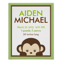 Mod Monkey Nursery Wall Art Birth Print