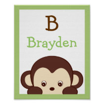 Mod Monkey Nursery Wall Art Name Print
