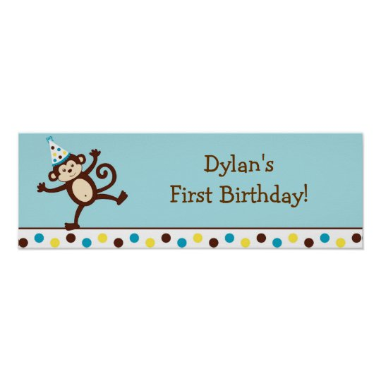 Mod Monkey Personalized Birthday Banner Sign