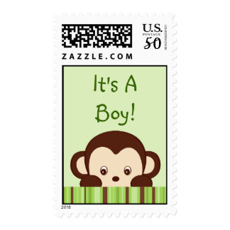 Mod Monkey Personalized Postage Stamps