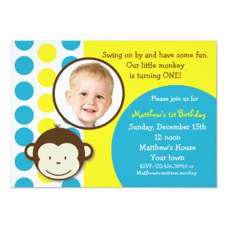 "Mod Monkey Photo Birthday Party Invitations 5"" X 7"" Invitation Card"