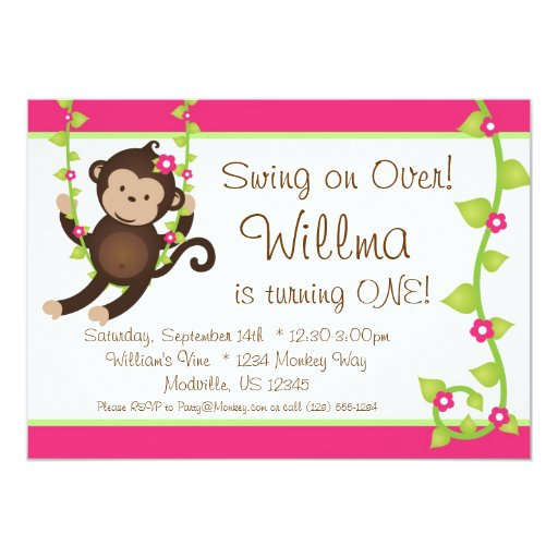 """Mod Monkey Pink and Green Birthday Party Invite 5"""" X 7"""" Invitation Card"""