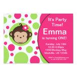 "Mod Monkey Pink Polka Dots Birthday Party Invite 5"" X 7"" Invitation Card"