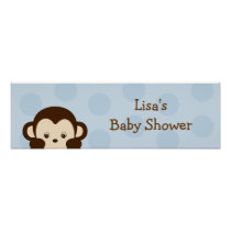 Mod Monkey Polka Dot Birthday Banner Sign