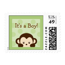 Mod Monkey Polka Dot Personalized Postage Stamps